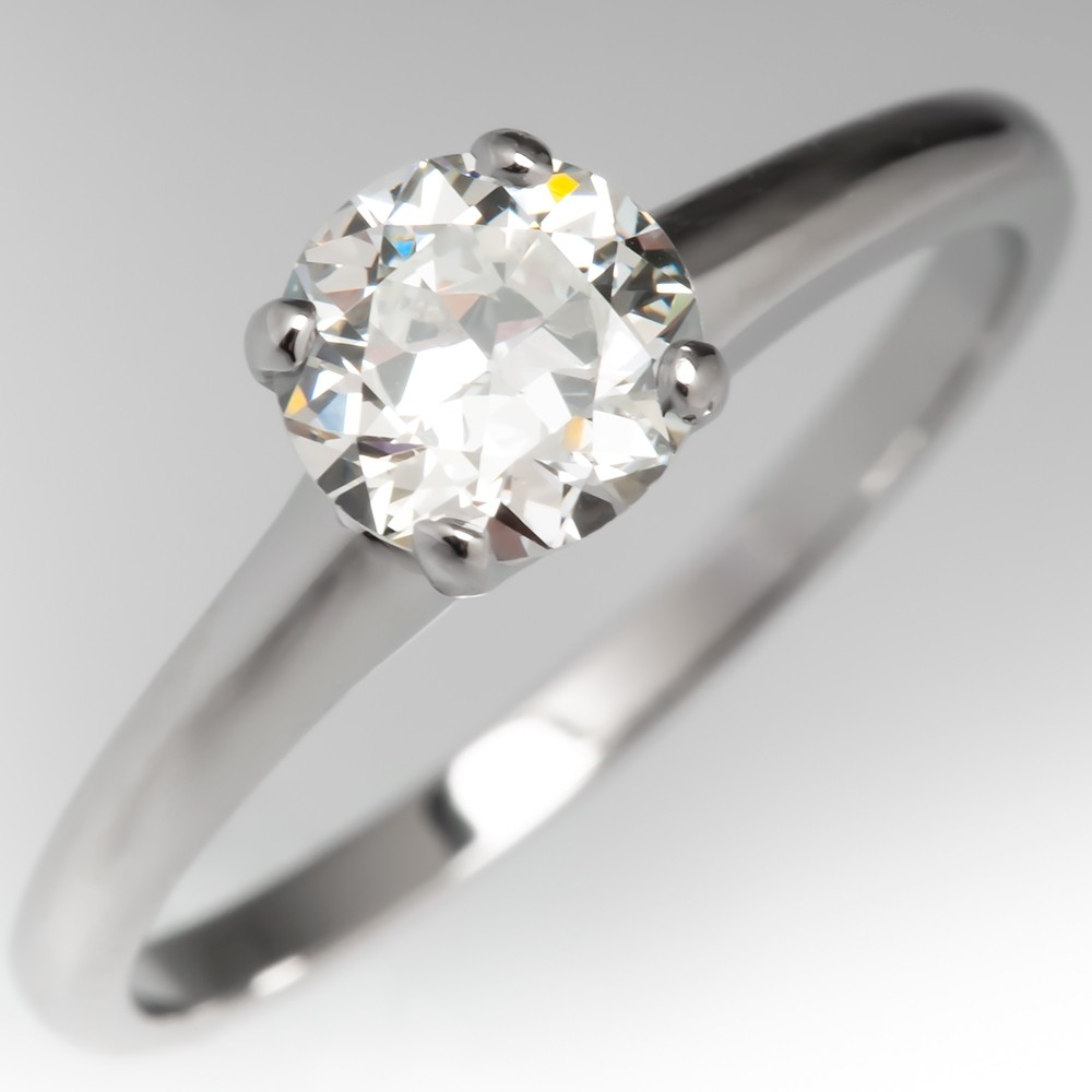 Transitional Cut Diamond Orange Blossom Vintage Solitaire Engagement Ring