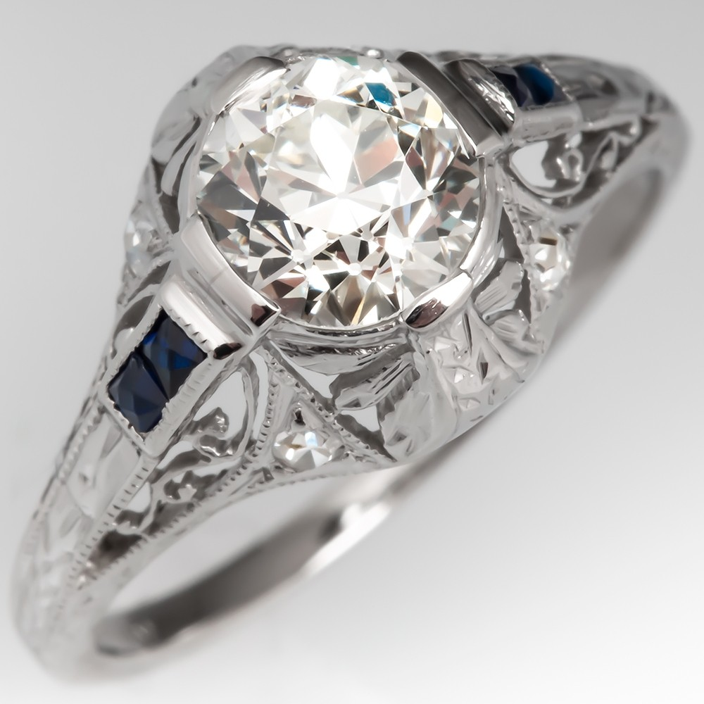 Filigree Art Deco Engagement Ring Old Euro Diamond w/ Sapphire Accents