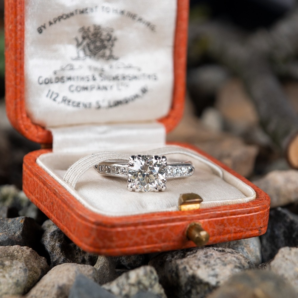 .90 J/VS1 Transitional Cut Diamond Vintage Engagement Ring