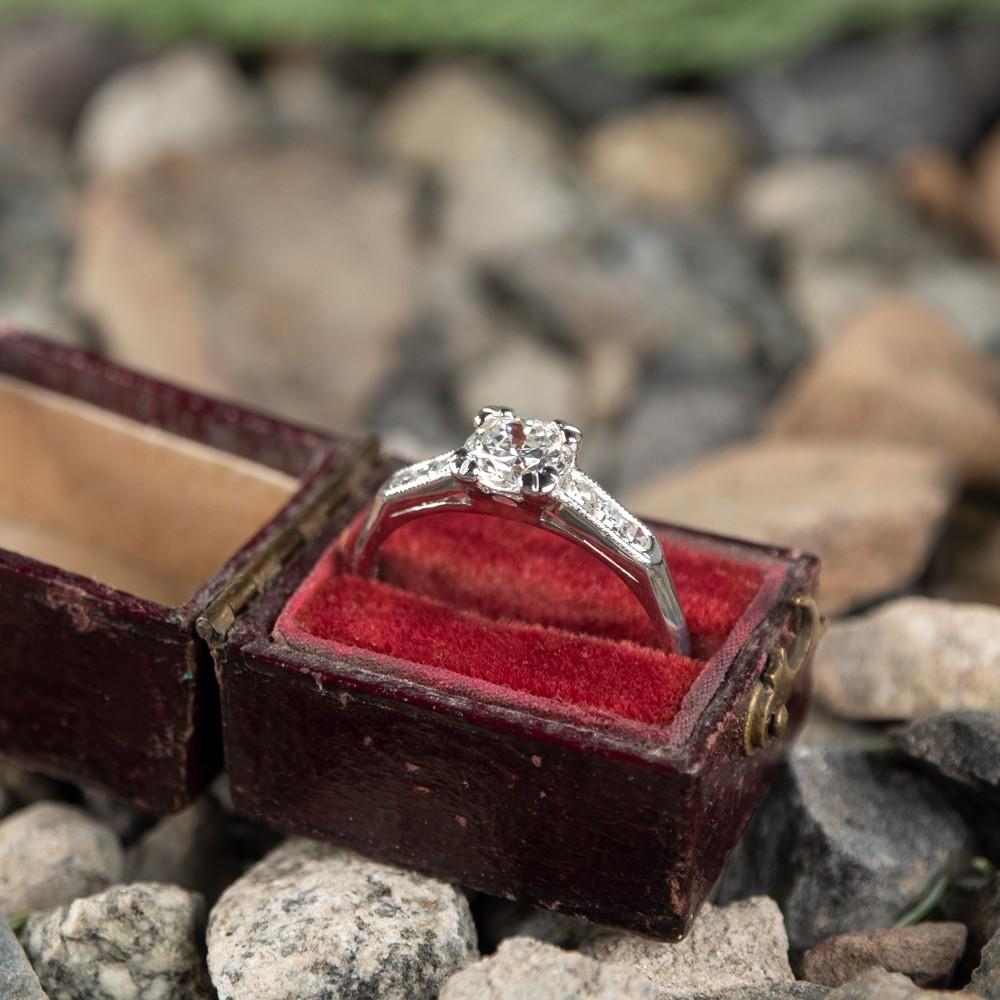 Transitional Cut Diamond Vintage Engagement Ring Platinum