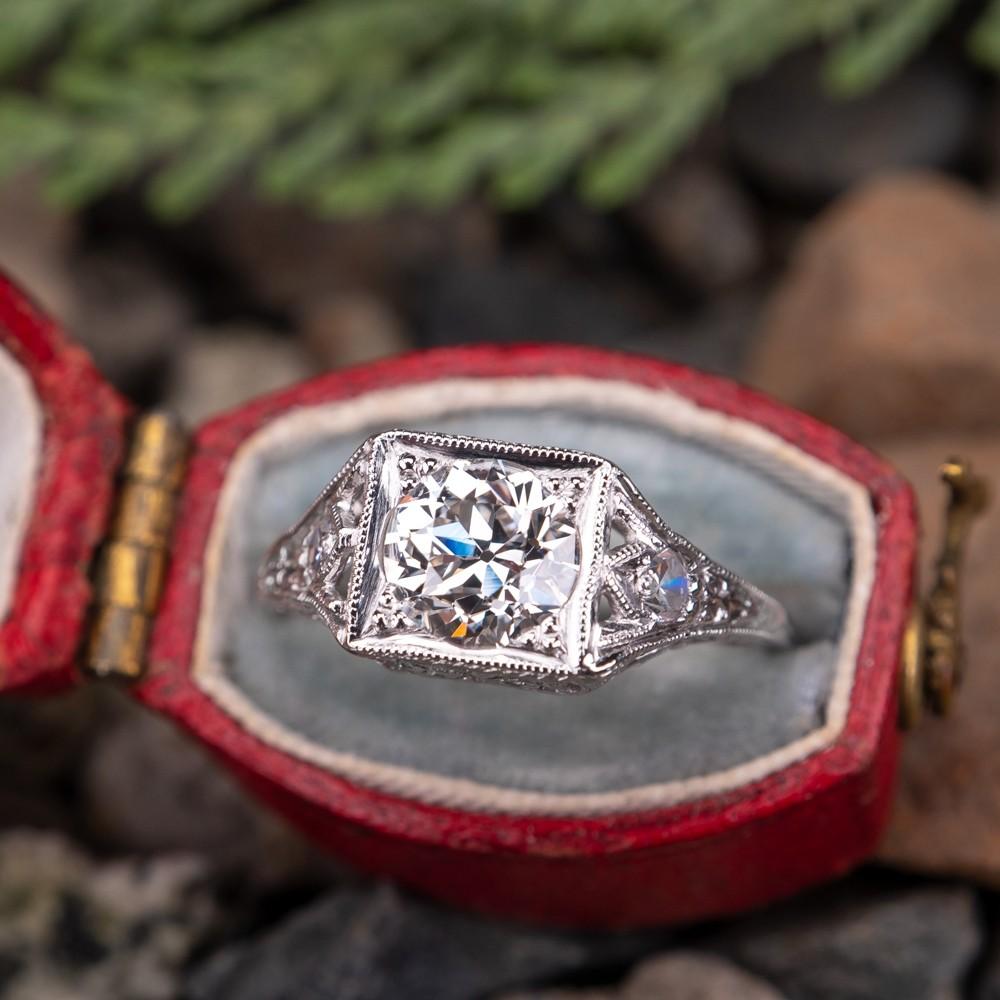 Antique Filigree Old Euro Diamond Engagement Ring Platinum