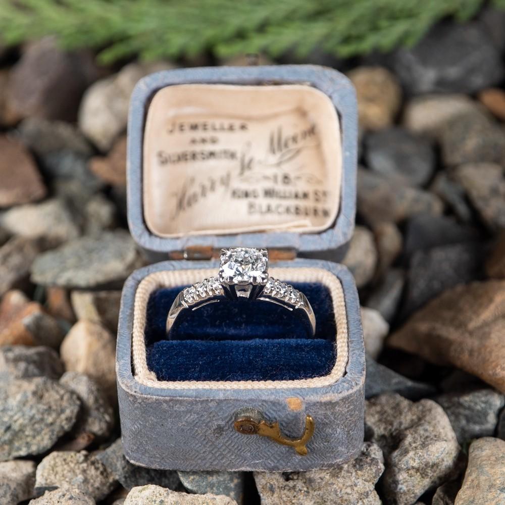 Old Euro Diamond Engagement Ring Fishtail Head Platinum