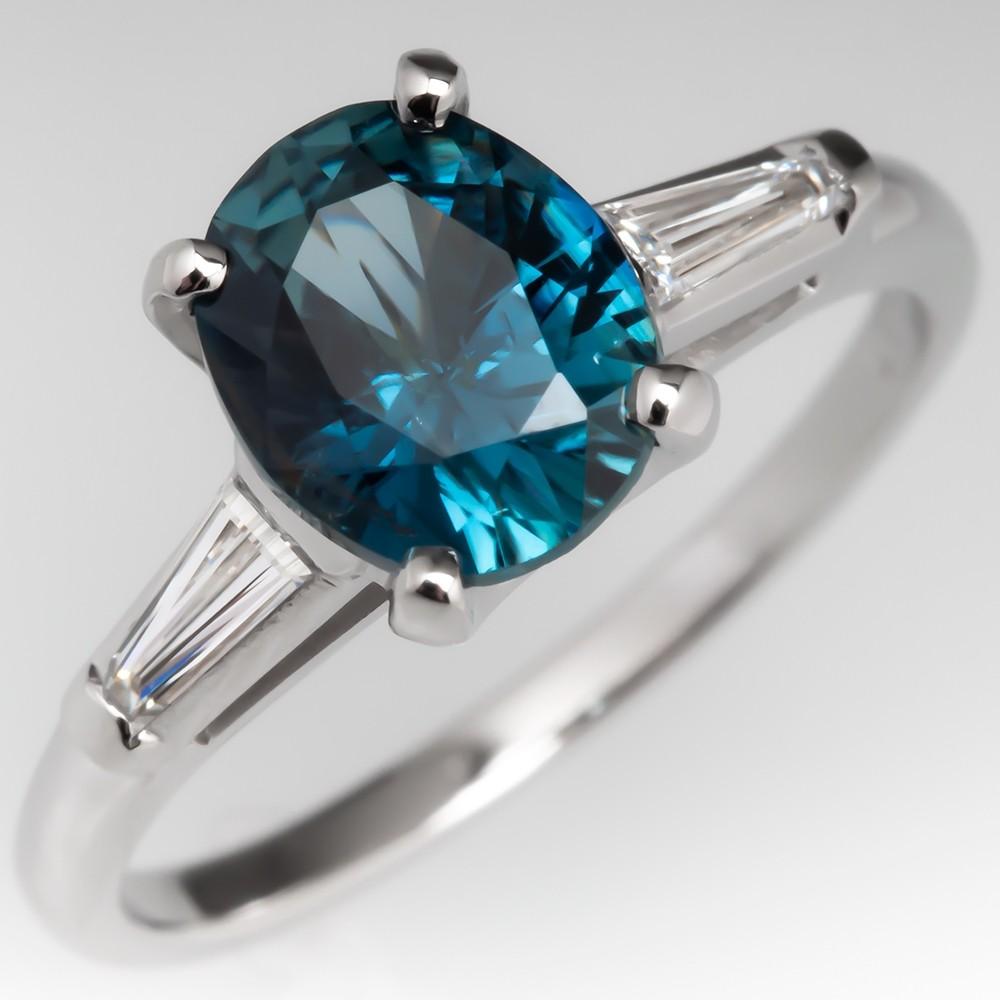 No Heat Blue Green Sapphire Engagement Ring Vintage Platinum Mount