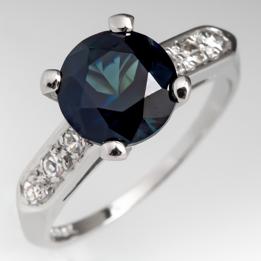 No Heat Dark Teal Sapphire Engagement Ring w/ Diamond Accents