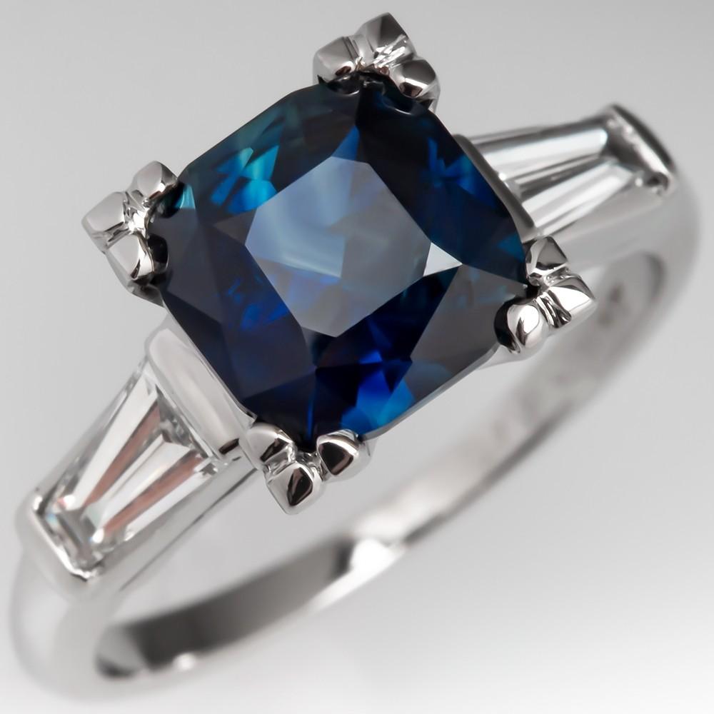 No Heat 2 Carat Sapphire Engagement Ring w/ Baguettes Platinum