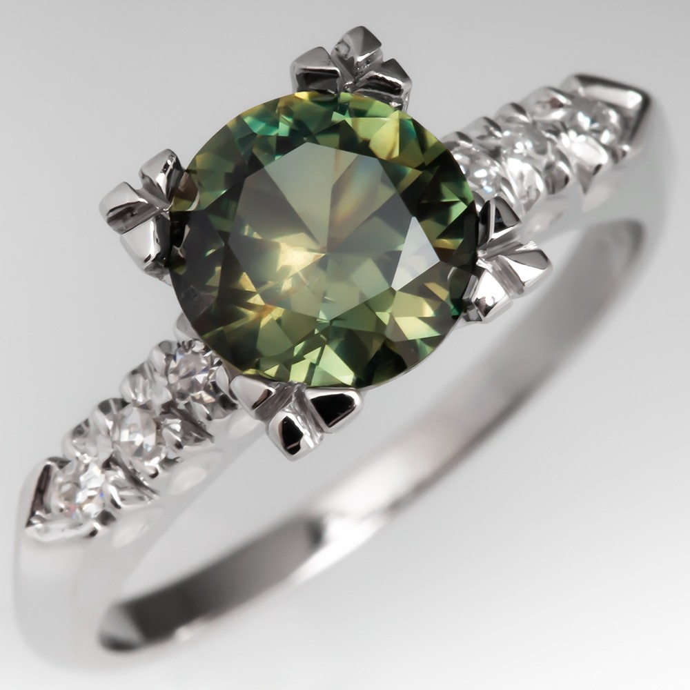 No Heat Yellow Green Sapphire Engagement Ring Vintage Mount