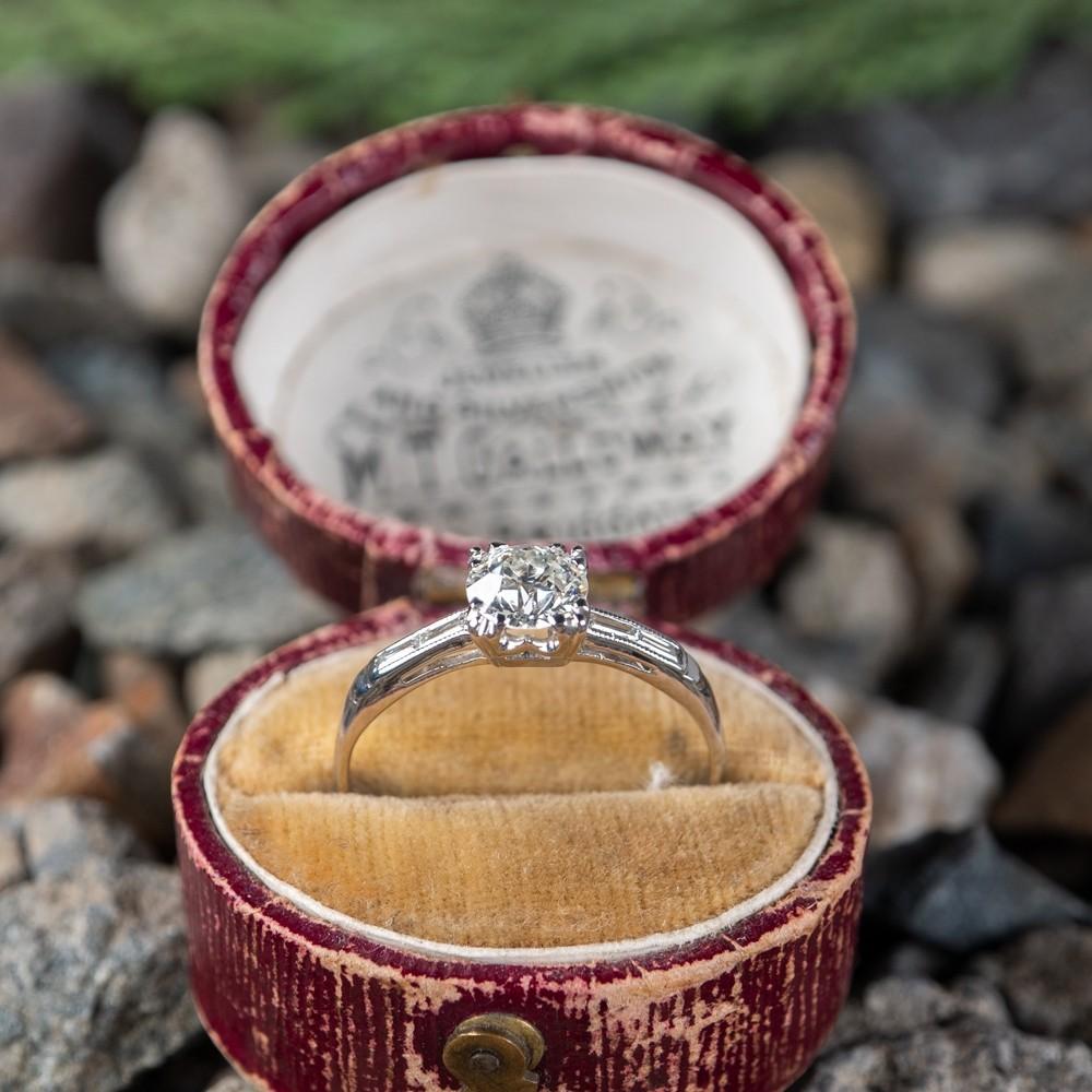 Old Euro Diamond Engagement Ring Vintage Baguette Diamond Mount