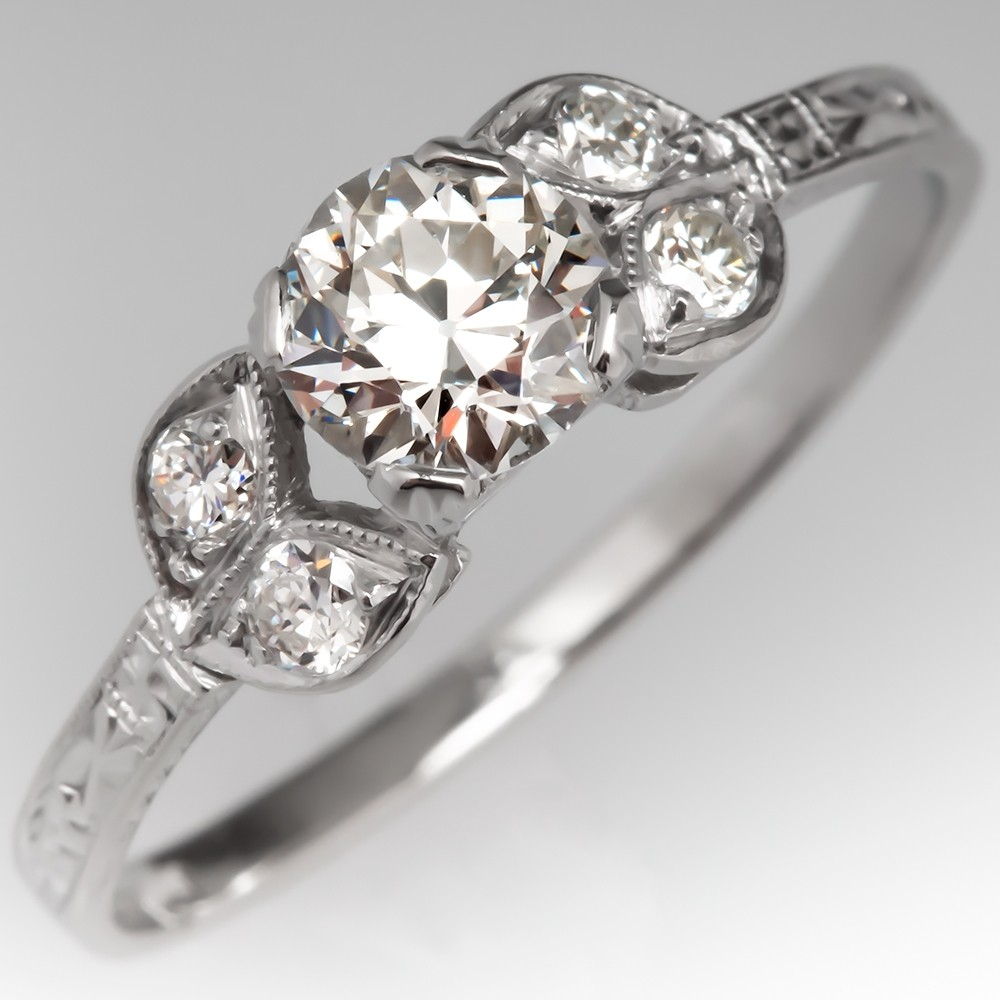 Delicate Art Deco Floral Engagement Ring Old Euro Diamond