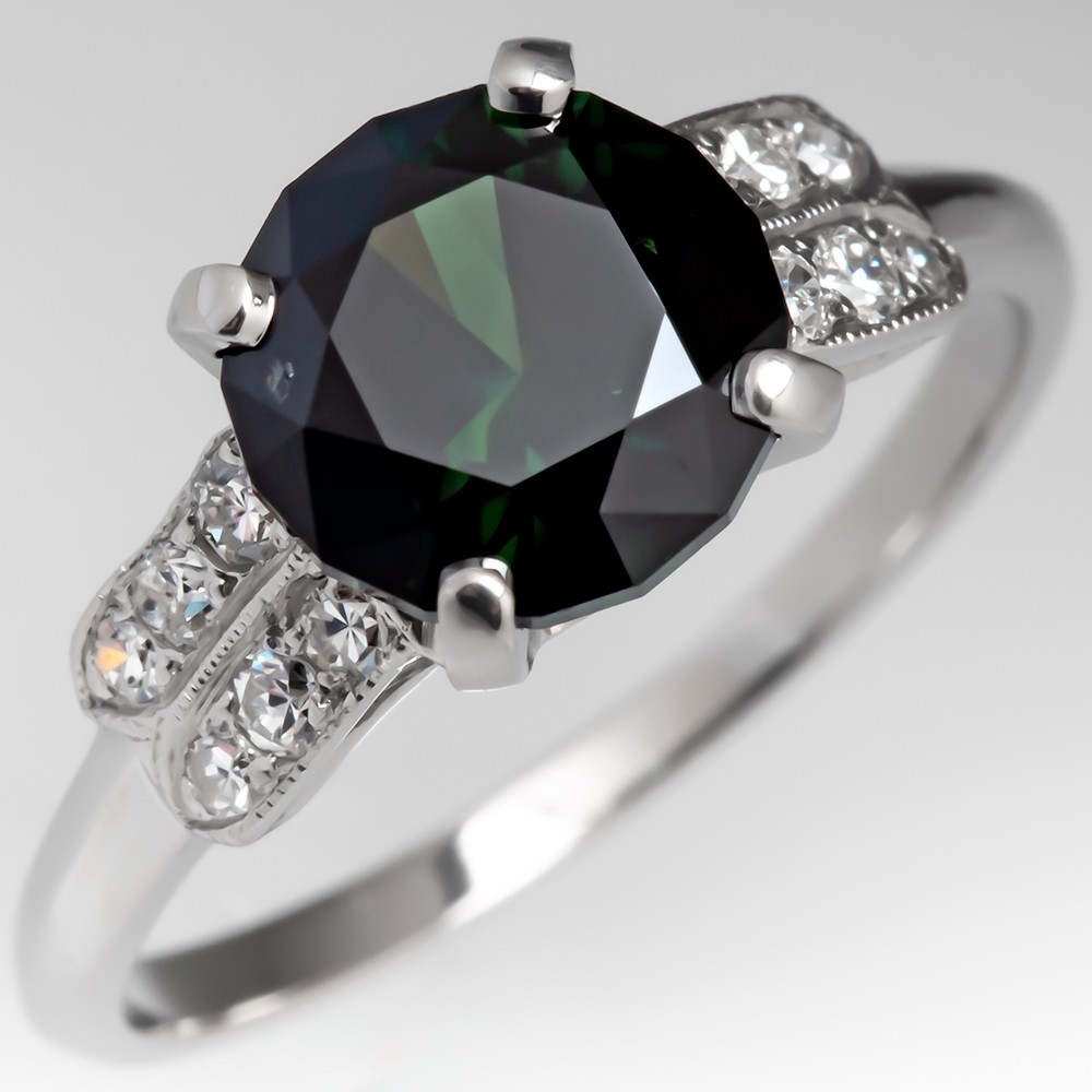 Very Dark No Heat Teal Sapphire Engagement Ring w/ Accents