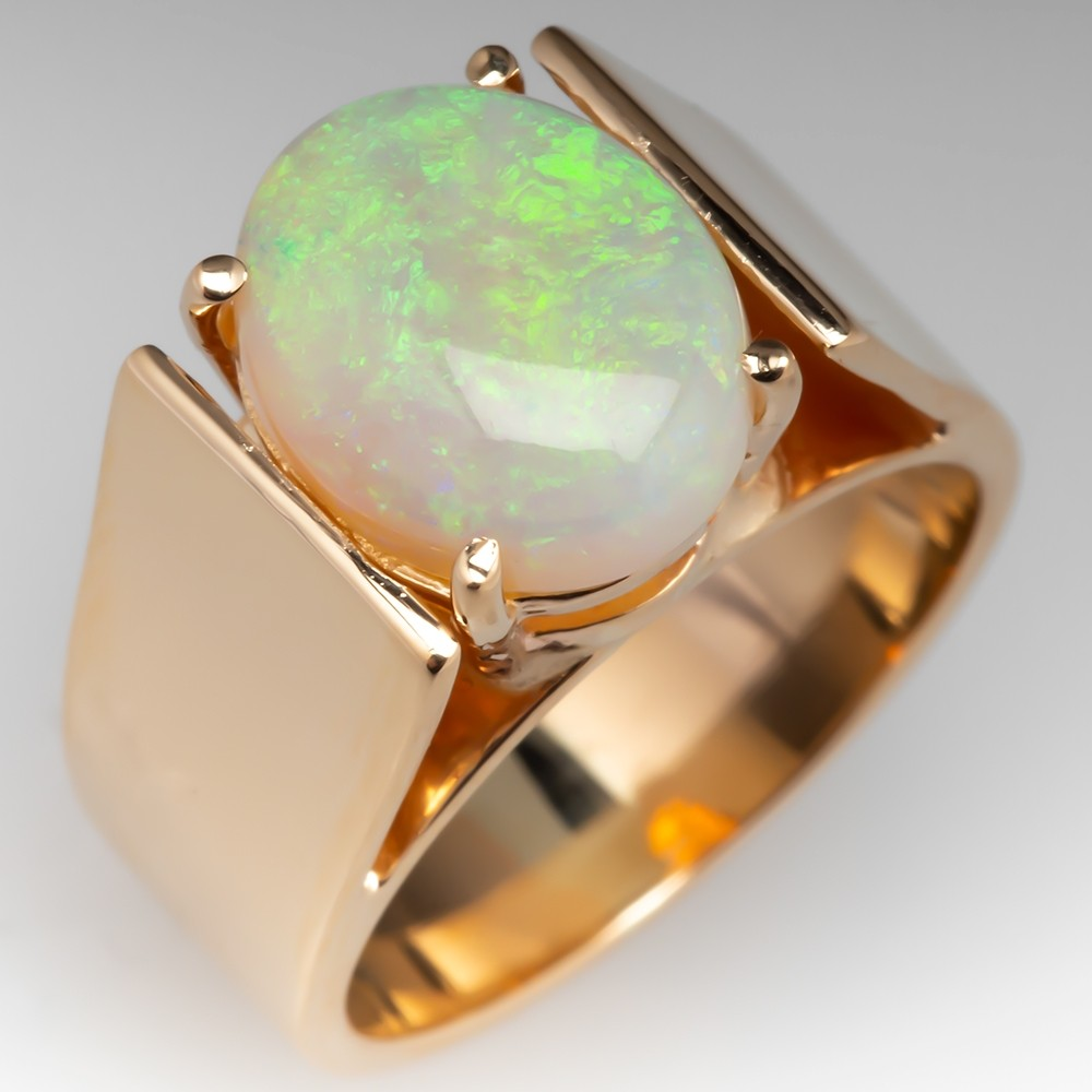 Estate White Crystal Opal Cocktail Ring 14K Gold