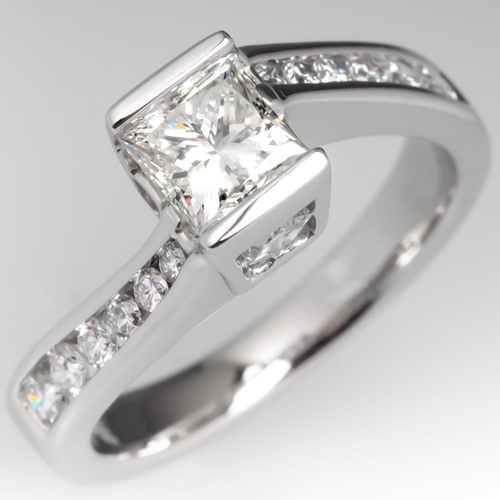 Princess Cut Diamond Bypass Style Engagement Ring