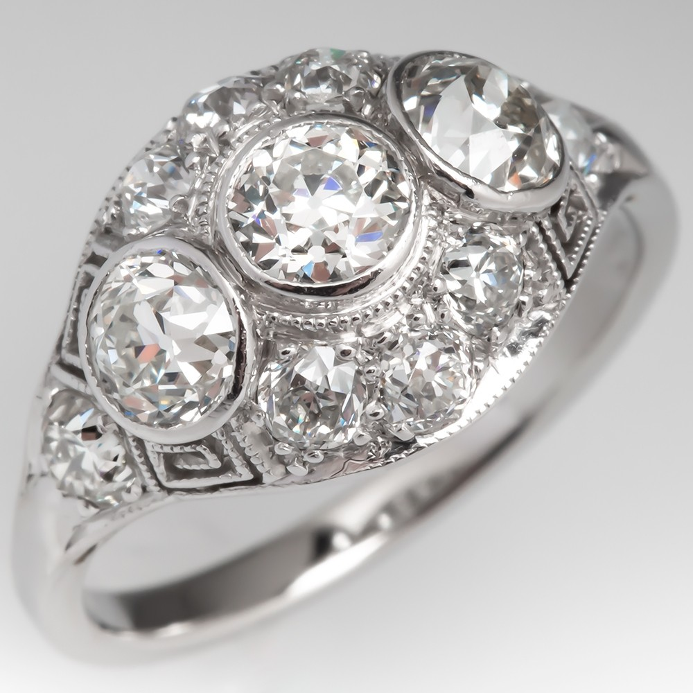 Three Stone Bezel Art Deco Filigree Diamond Engagement Ring