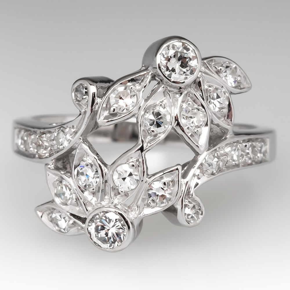 Retro Vintage Floral Diamond Low Profile Ring Platinum