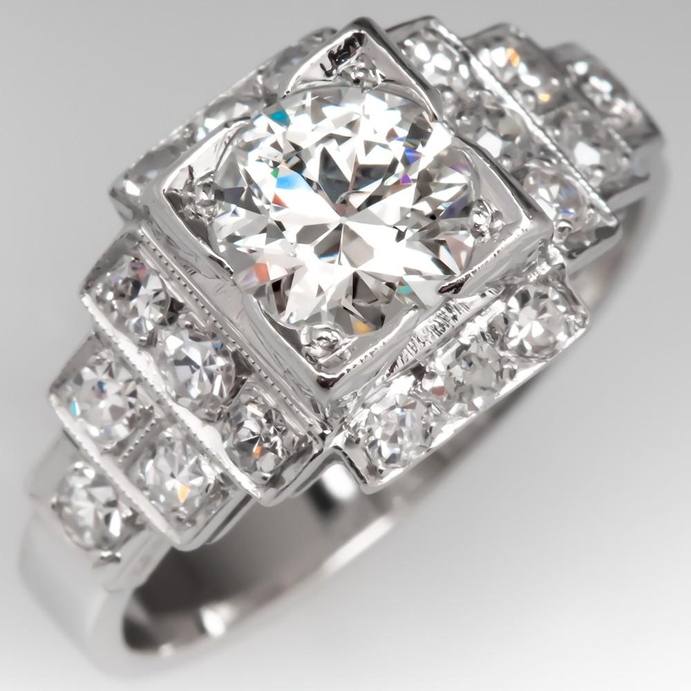 Art Deco Engagement Ring Diamond Geometric Platinum 1930's