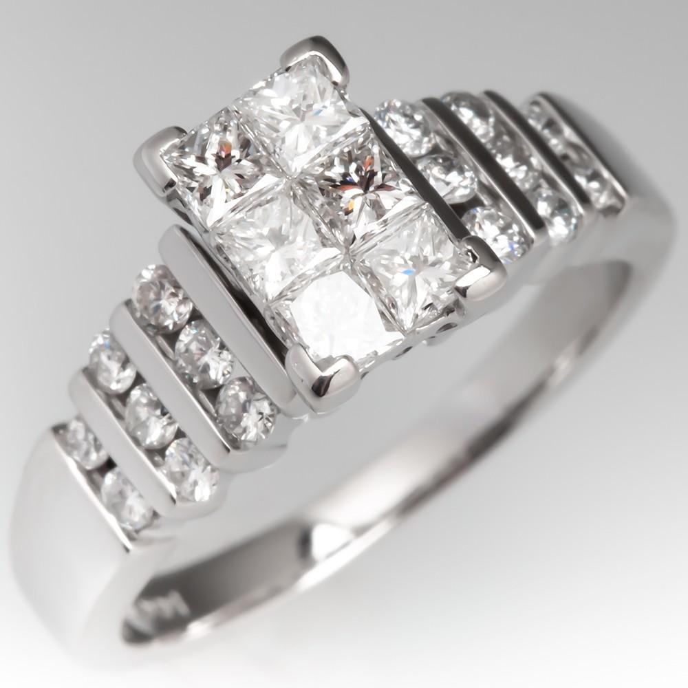 773110ab51098 Invisible Set Diamond Engagement Ring 14K White Gold