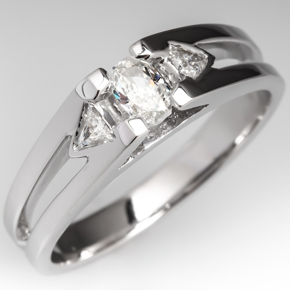 Mens Diamond Band Ring 14K White Gold Octagon Diamond Triangle Accents