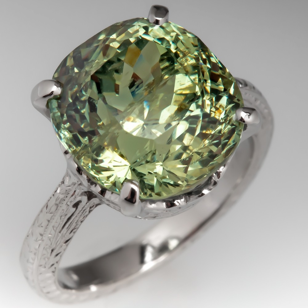 9 Carat No Heat Icy Green Montana Sapphire Solitaire Ring