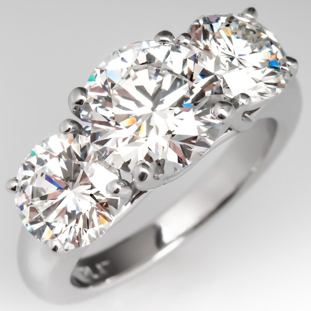 GIA Three Stone Diamond Engagement Ring 4 Total Carats