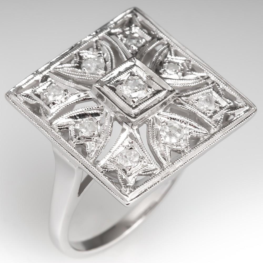 1950's Vintage Diamond Cluster Openwork Cocktail Ring 14K White Gold