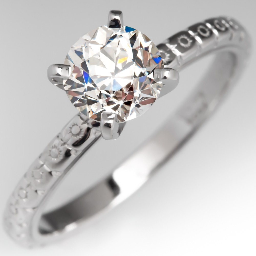 1 Carat Diamond Solitaire Engagement Ring Engraved 18K