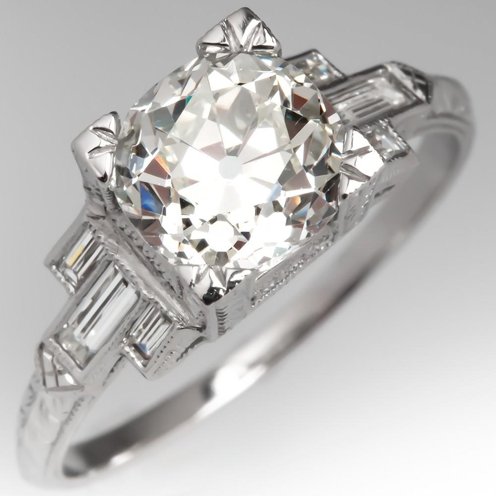 Detailed Geometric Motif Heirloom Old Mine Cut Diamond Platinum