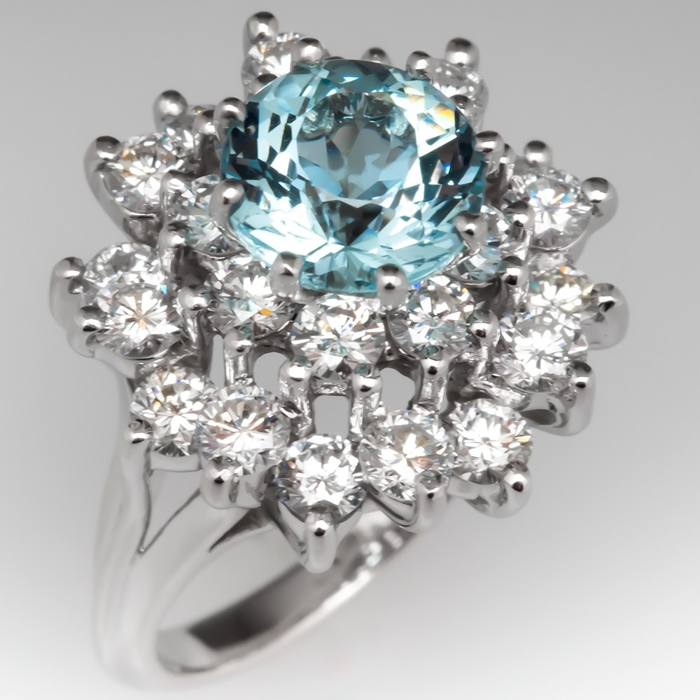 2 Carat Aquamarine & Diamond Cluster Cocktail Ring Platinum