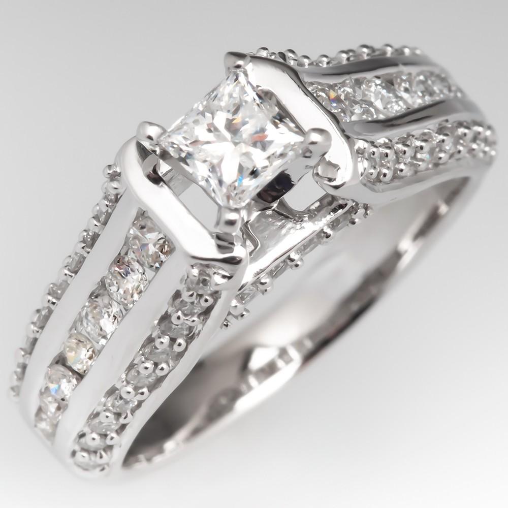 Estate Princess Cut Diamond Wide Band Engagement Ring 14k