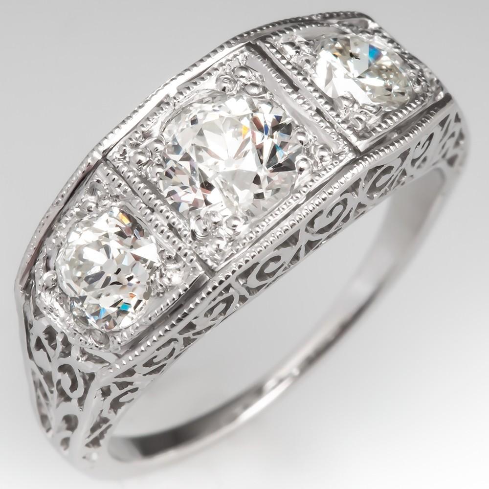 Filigree Three Stone Antique Diamond Engagement Ring