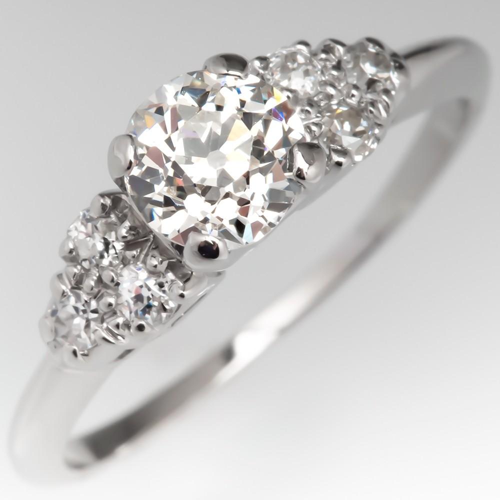 Platinum Vintage Diamond Engagement Ring w/ Accents