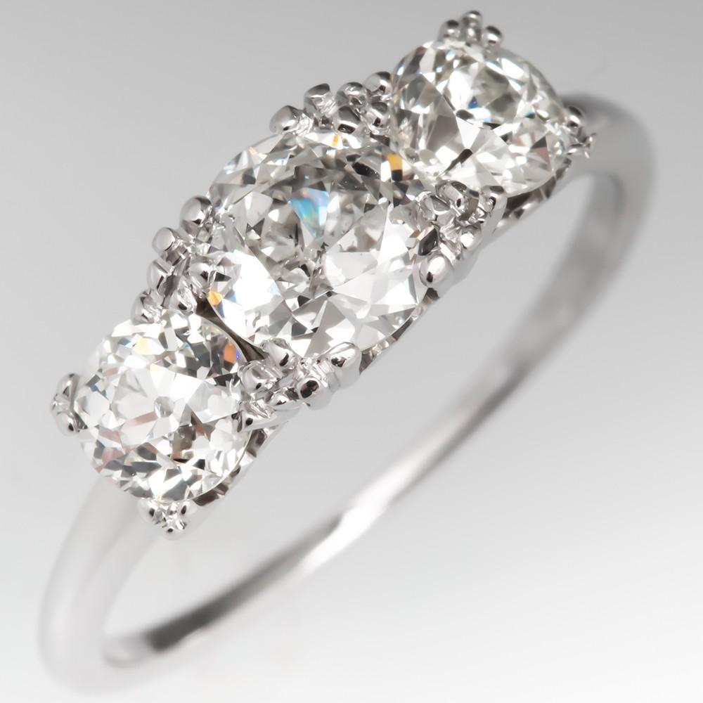 1930's Jabel Three Stone Old Euro Diamond Engagement Ring 18K