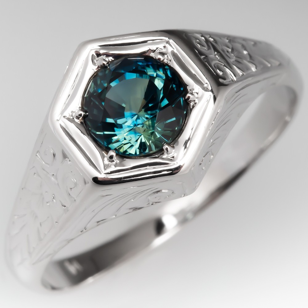 No Heat Vibrant Blue Green Sapphire Vintage Mens Ring 14K Engraved