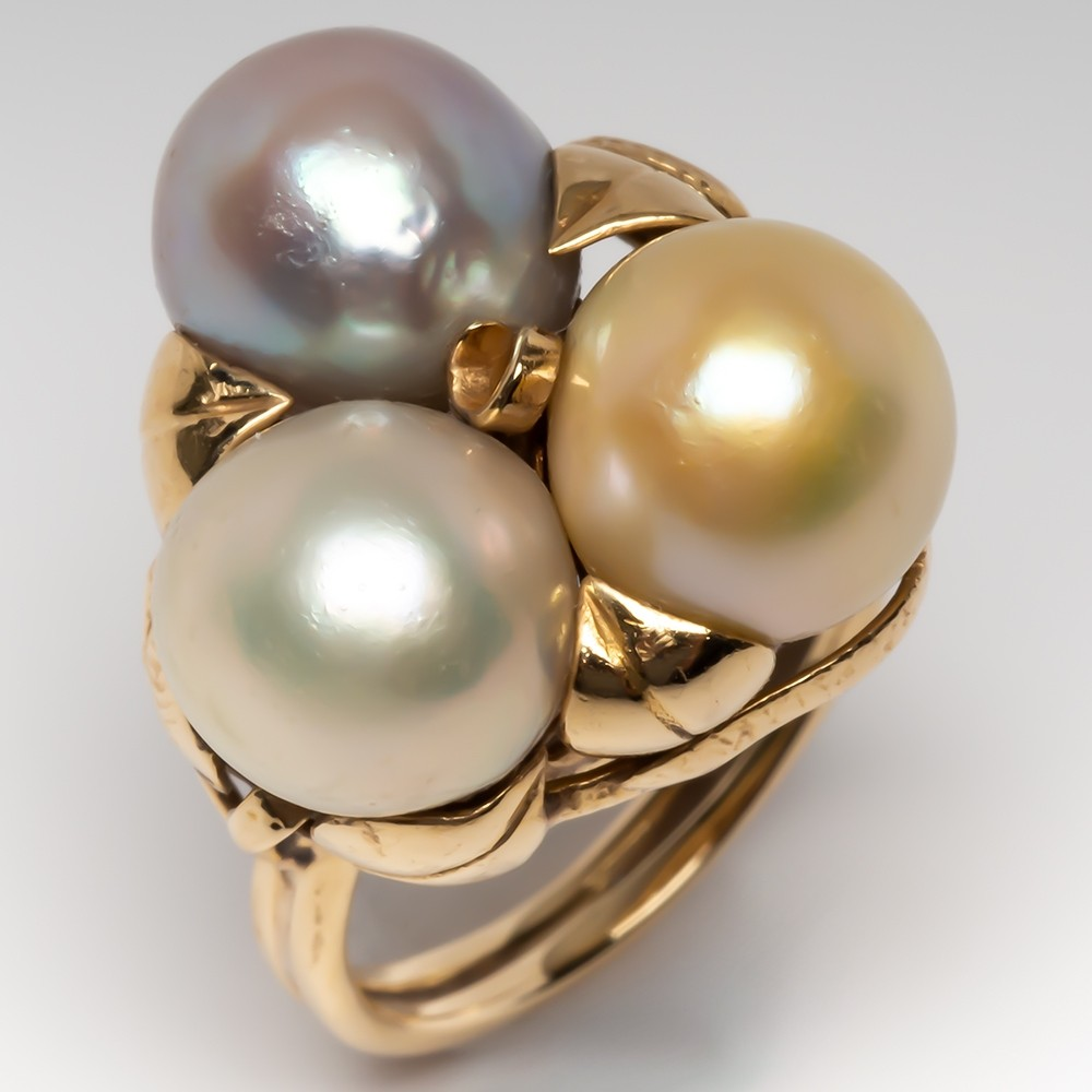 1960's Cluster Pearl Floral Cocktail Ring 14K Gold