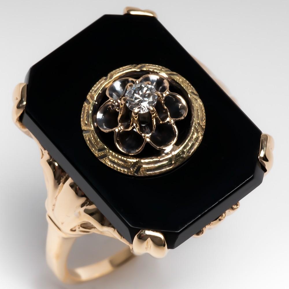Antique 1930's Black Onyx & Old Euro Diamond Gold Ring
