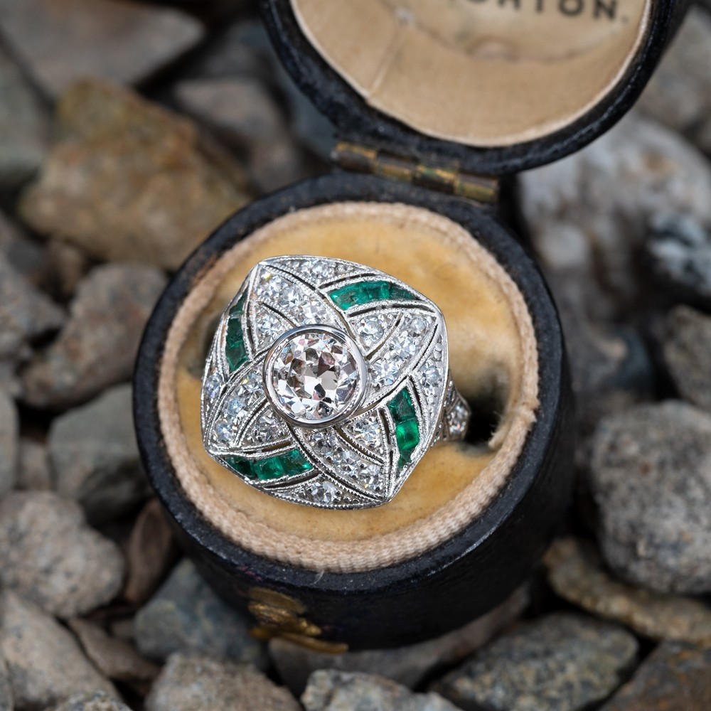 Vintage Diamond Ring w/ Green Emerald Accents Platinum
