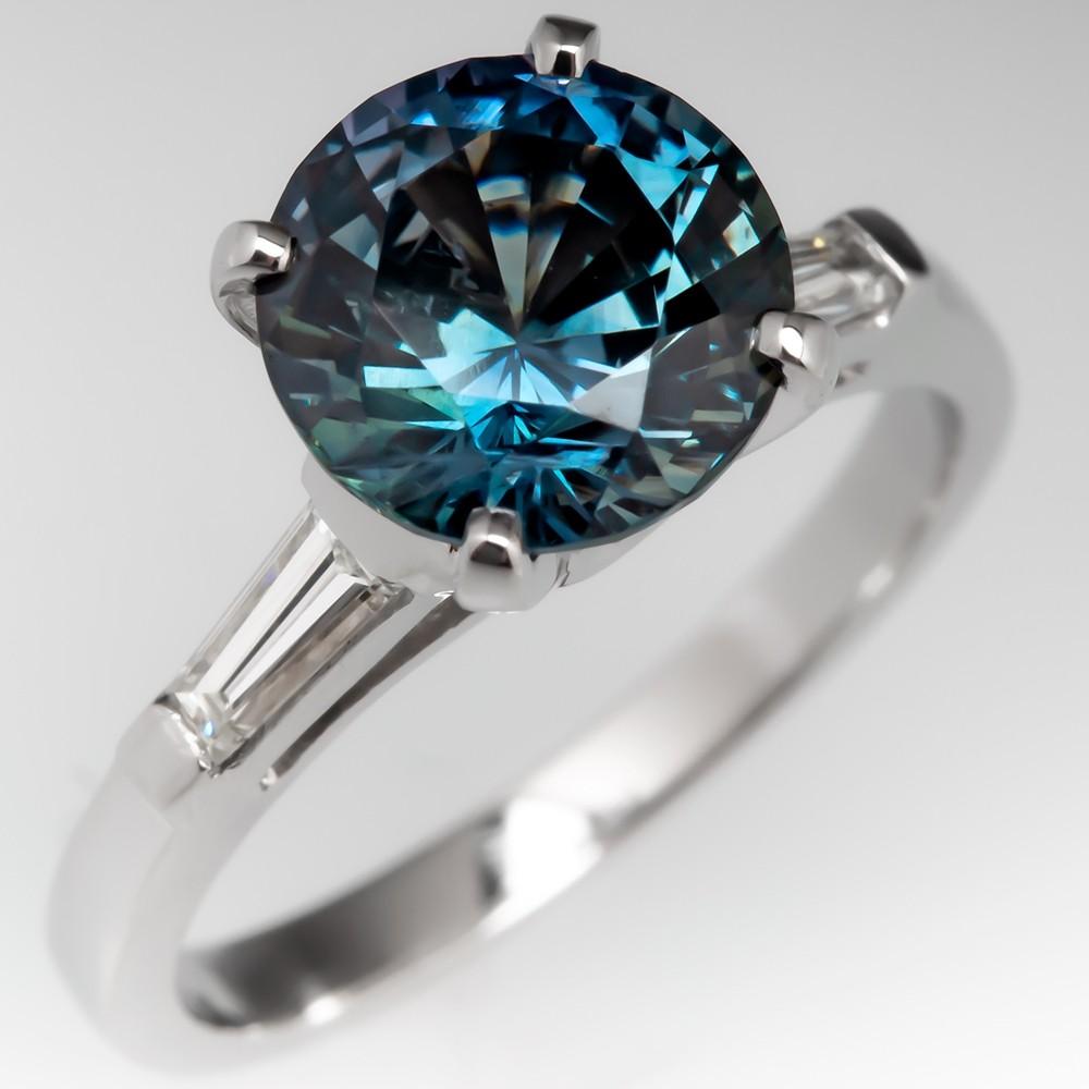 3 Carat No Heat Multicolor Sapphire Engagement Ring Platinum
