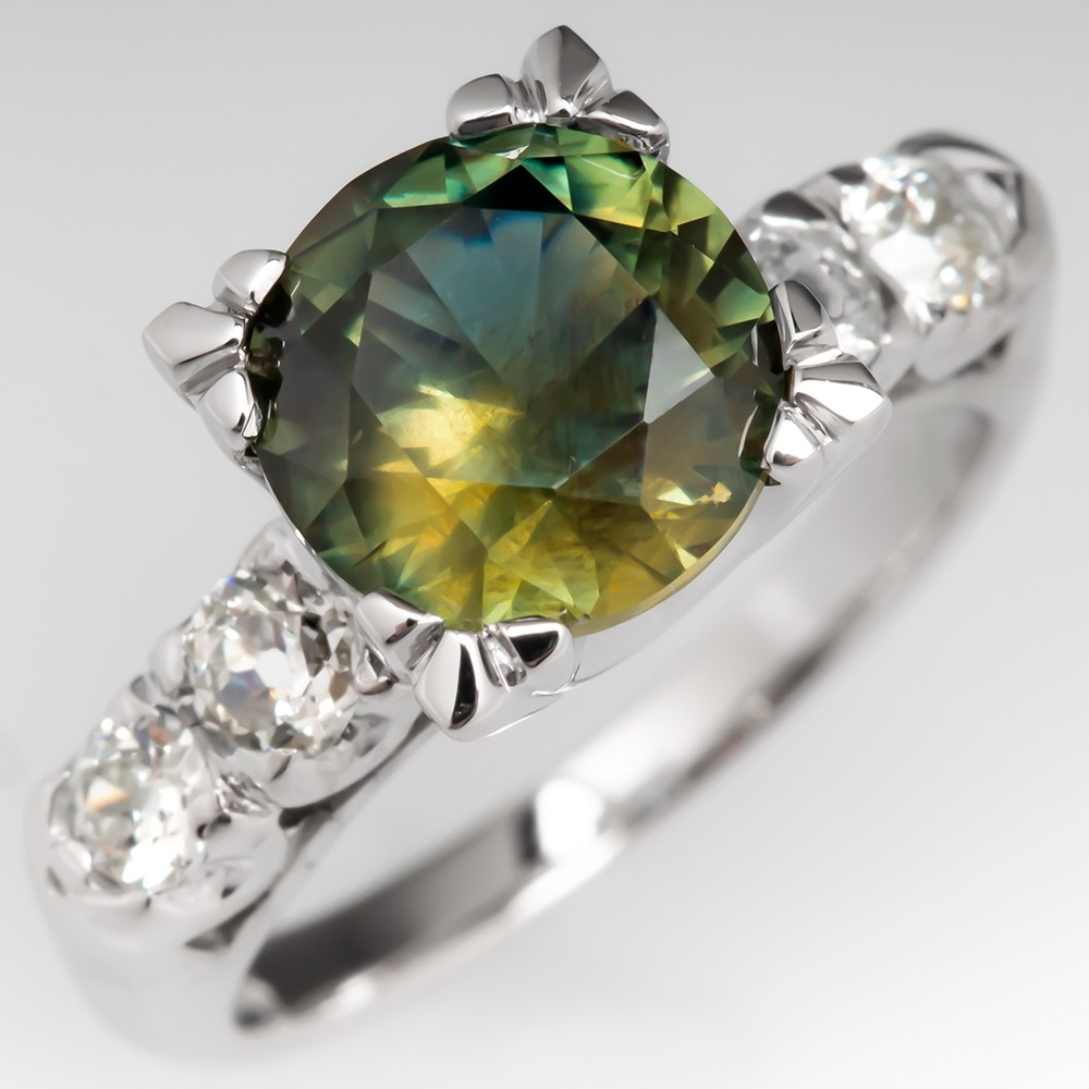 2.6 Carat No Heat Green Sapphire Engagement Ring w/ Accents 14K
