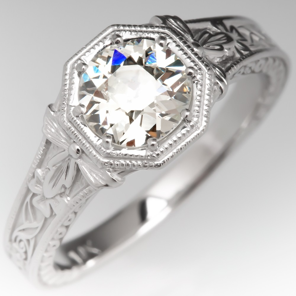 Floral Engraved Geometric Vintage Engagement Ring 14K White Gold
