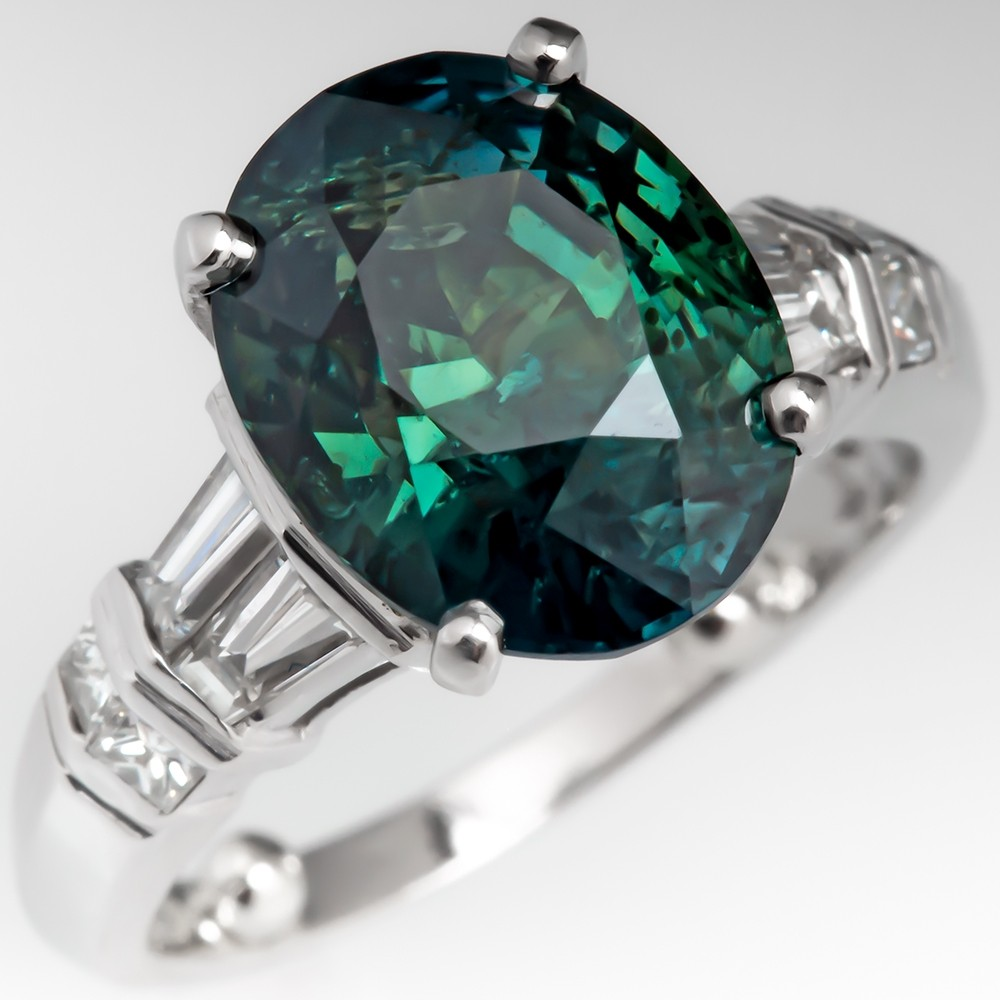 5 Carat Green Sapphire Engagement Ring w/ Diamonds Platinum