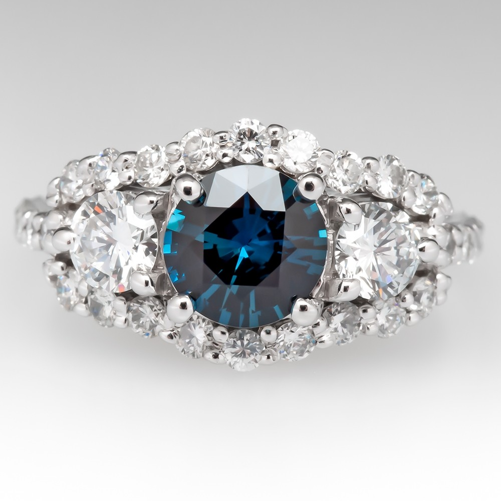 Rich Teal Sapphire Engagement Ring Diamond Accents 14K