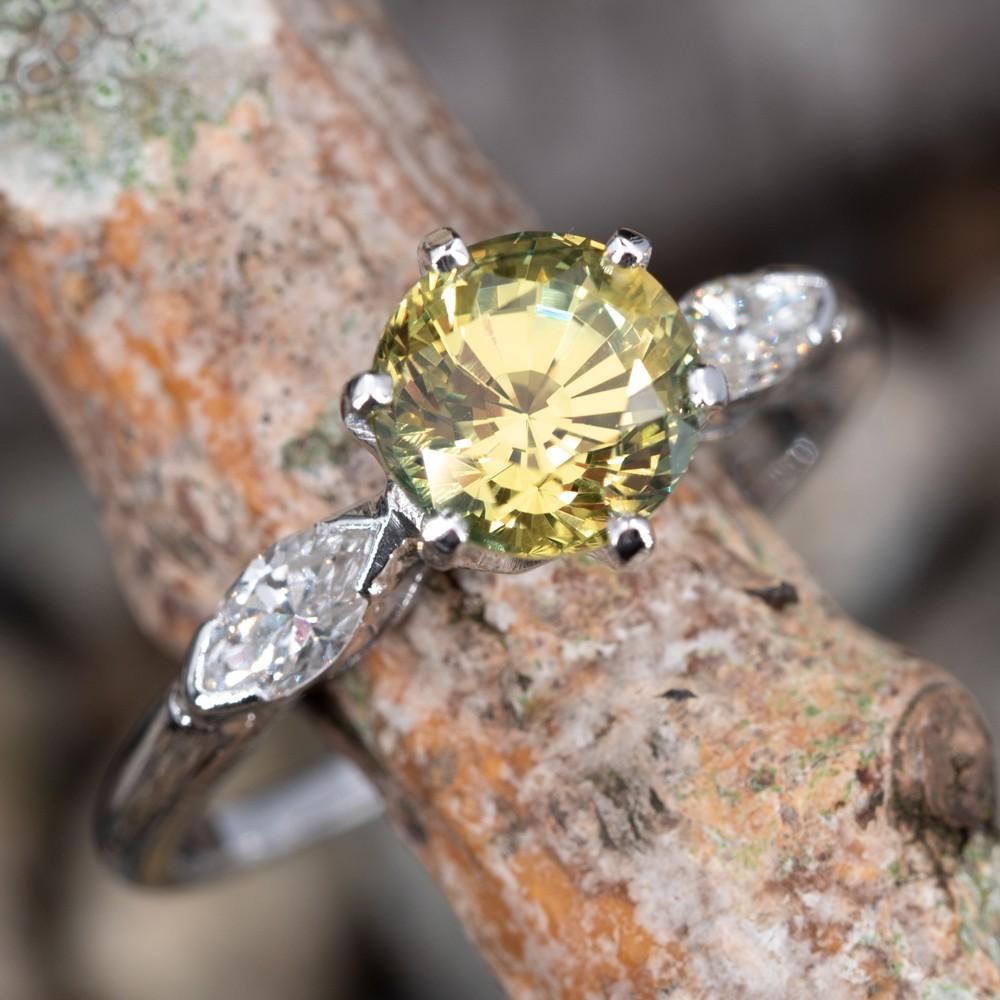 Untreated Bright Yellow Green Sapphire Engagement Ring Platinum