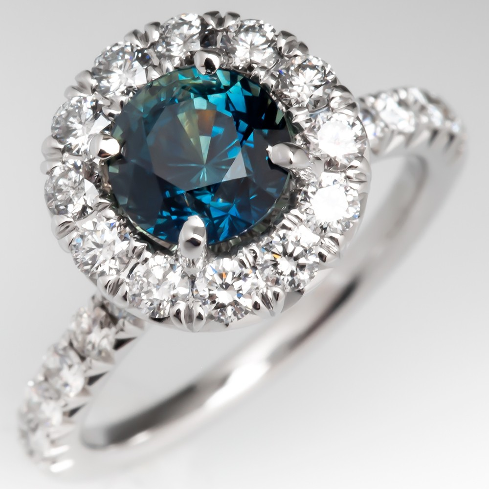Untreated Dark Teal Sapphire & Diamond Halo Engagement Ring