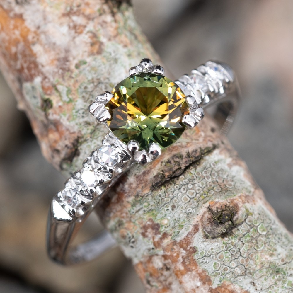 Vibrant Bi-Color Yellow Green Sapphire Engagement Ring Platinum