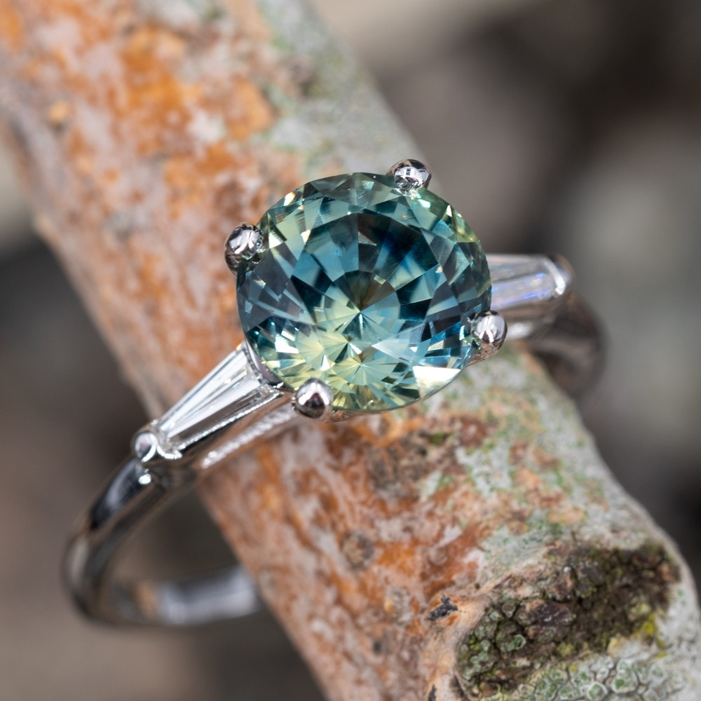 Vibrant Icy Blue Green No Heat Sapphire Engagement Ring 14K