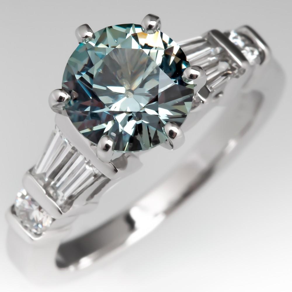 Natural No Heat Pastel Blue Green Sapphire Engagement Ring 14K