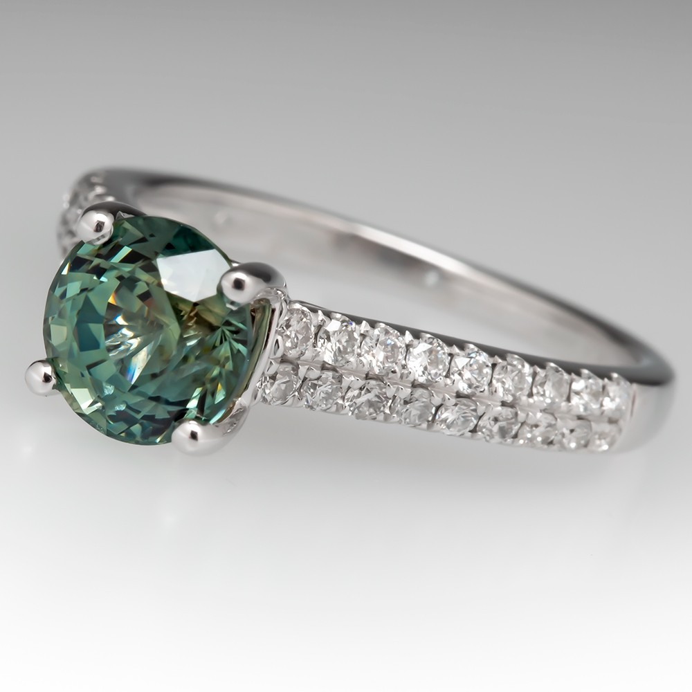 No Heat Blue Green Pastel Sapphire Engagement Ring 18K