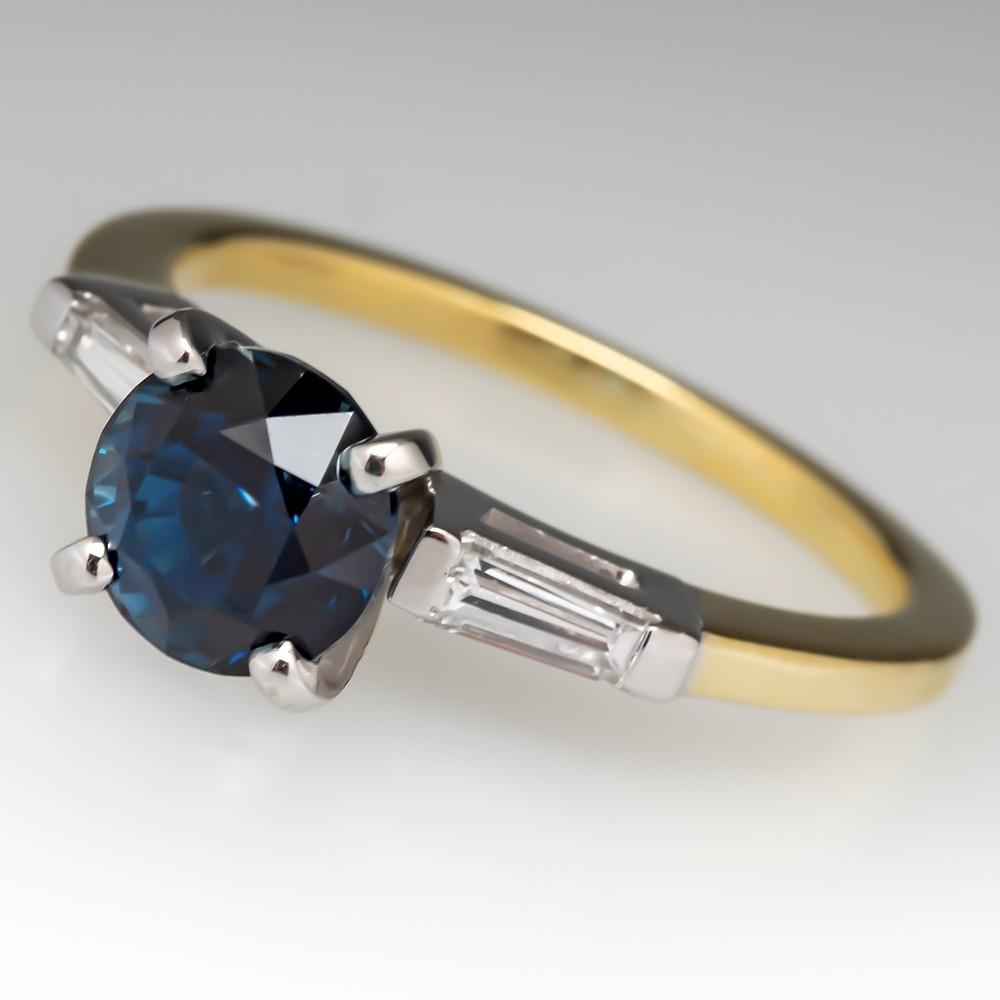 No Heat Rich Blue Green Sapphire Engagement Ring