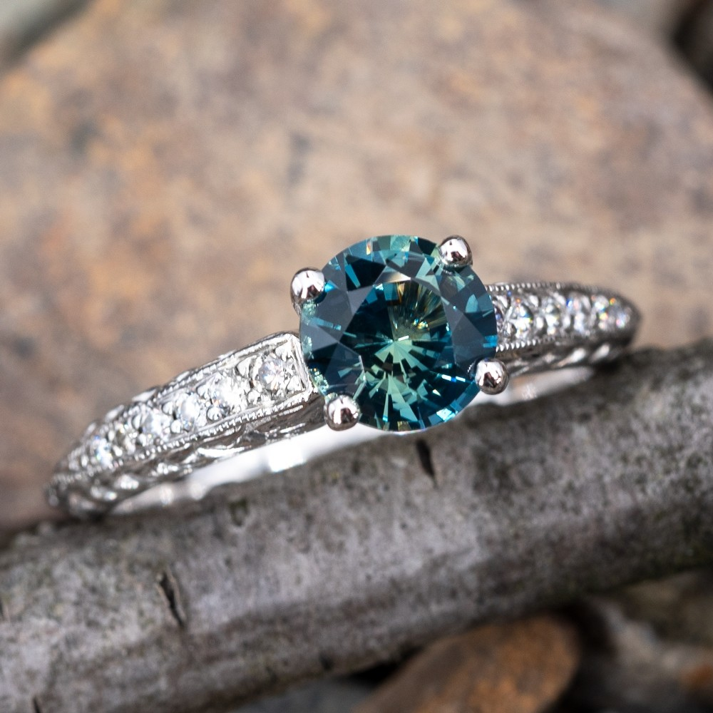 Icy Rich Blue Green Sapphire Engagement Ring Scott Kay Platinum