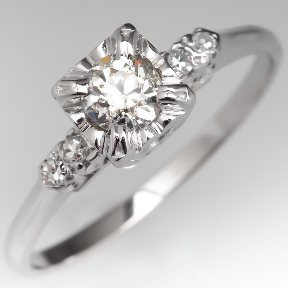 1950s Vintage Diamond Engagement Ring Illusion Set 14K White Gold