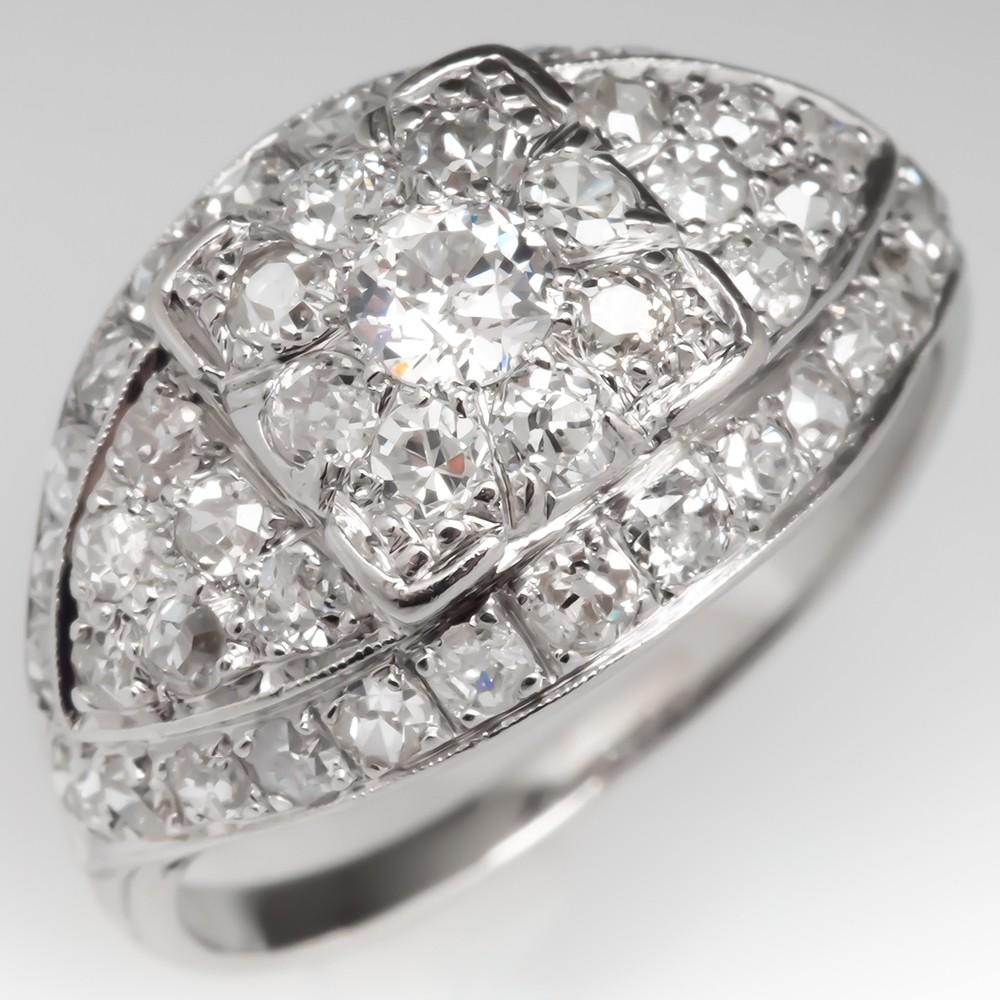 Antique Diamond Encrusted Ring Platinum 1.48CTW