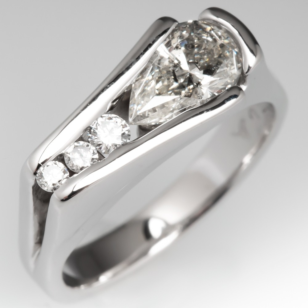 Unique Pear Diamond Channel Ring 14K White Gold